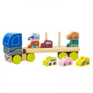 13418-1 CUBIKA Drveni kamion sa automobilima - 12 elemenata