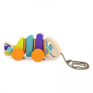 13630-2 CUBIKA Drvena igračka na povlačenje - RIBICA
