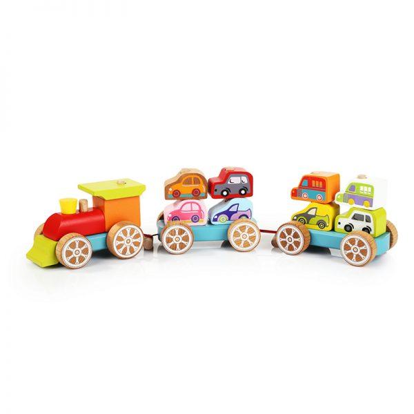 13999-1 CUBIKA Drveni vozić sa autićima - 14 elemenata